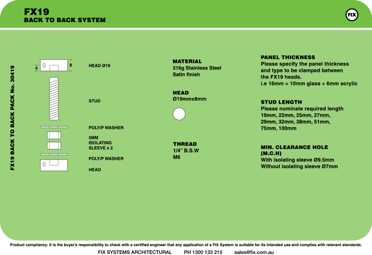 FX19, Back-to-back System Specifications