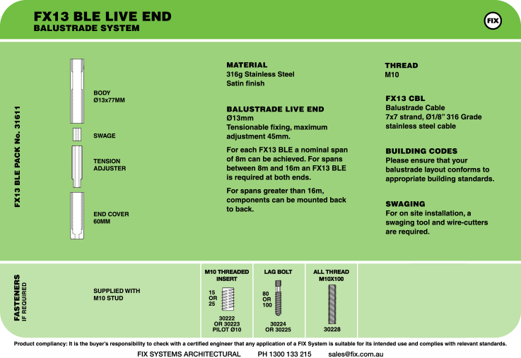 FX13 BLE Live End, Balustrade System Specifications