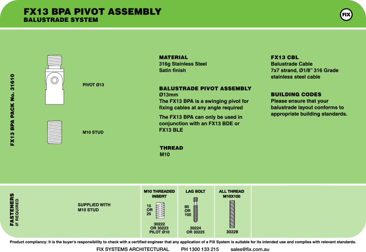 FX13 BPA Pivot Assembly, Balustrade System Specifications