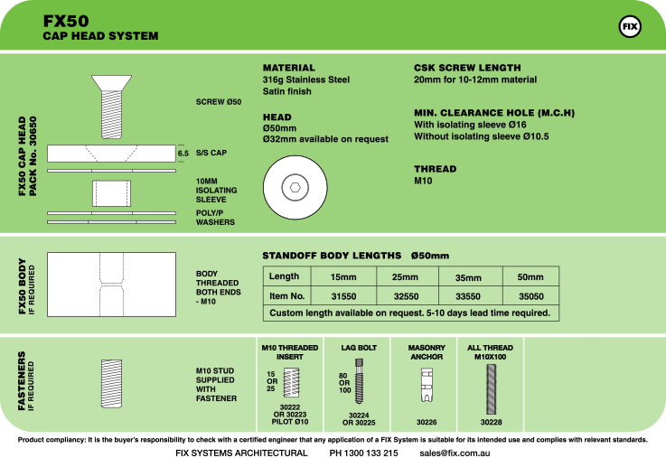 FX50, Cap Head System Specifications