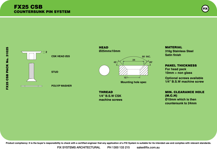 FX25 CSB, Countersunk Pin System Specifications