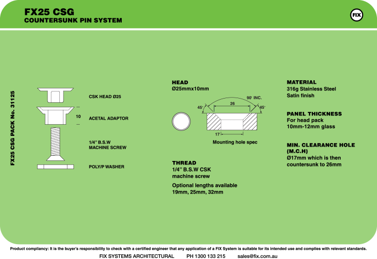 FX25 CSG, Countersunk Pin System Specifications