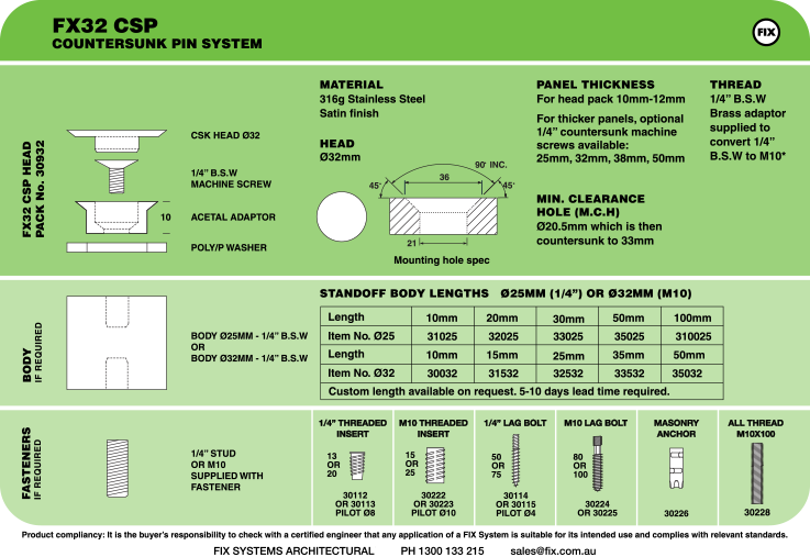 FX32 CSP, Countersunk Pin System Specifications