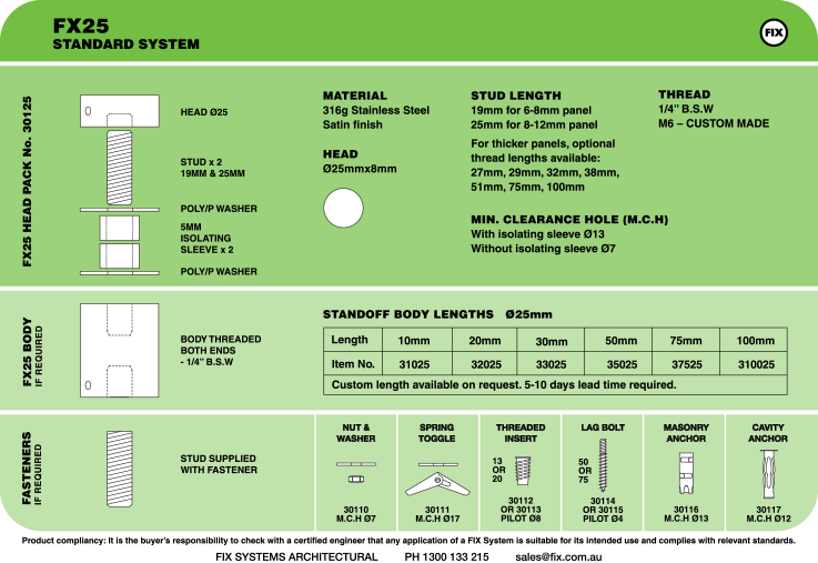 FX25, Standard System Specifications